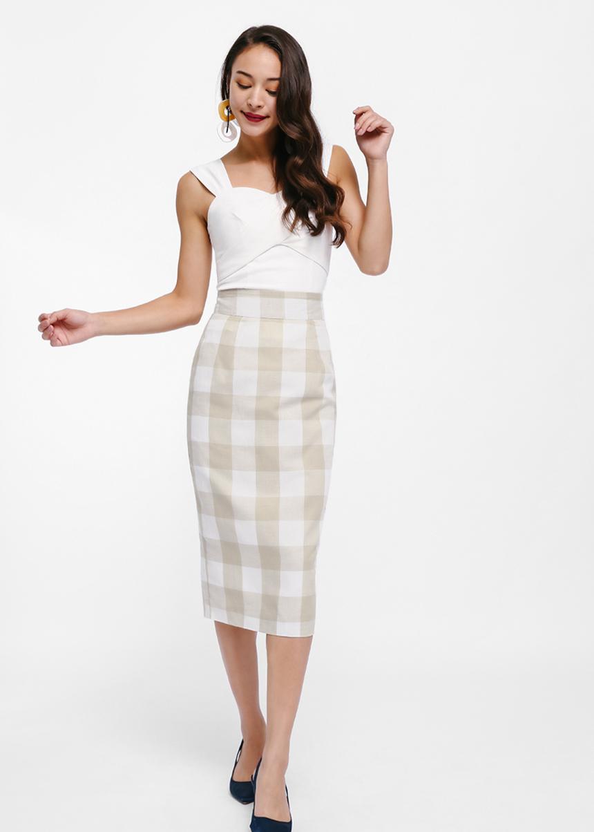 Neliss Gingham Pencil Skirt
