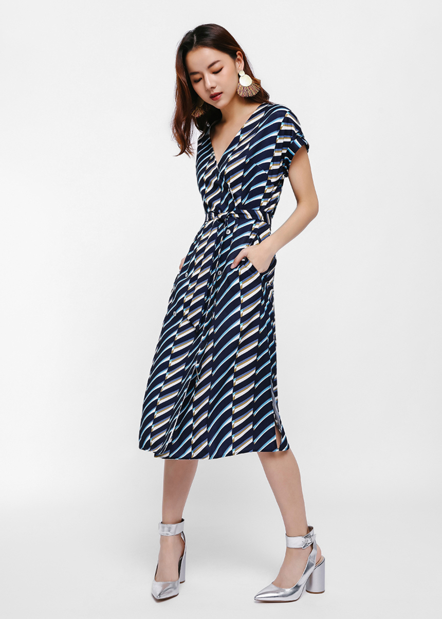 Mich Stripe Print Wrap Button-Up Dress