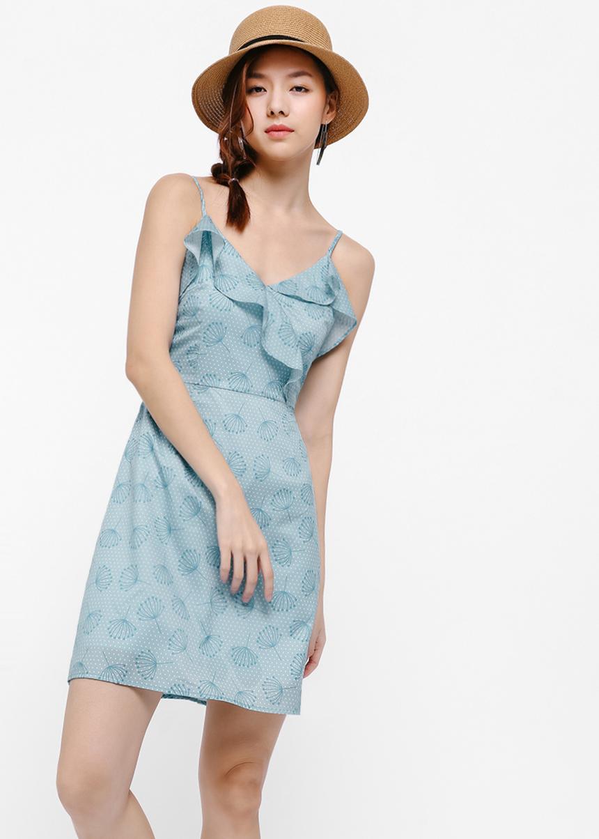 Icho Printed Cascade Front Dress