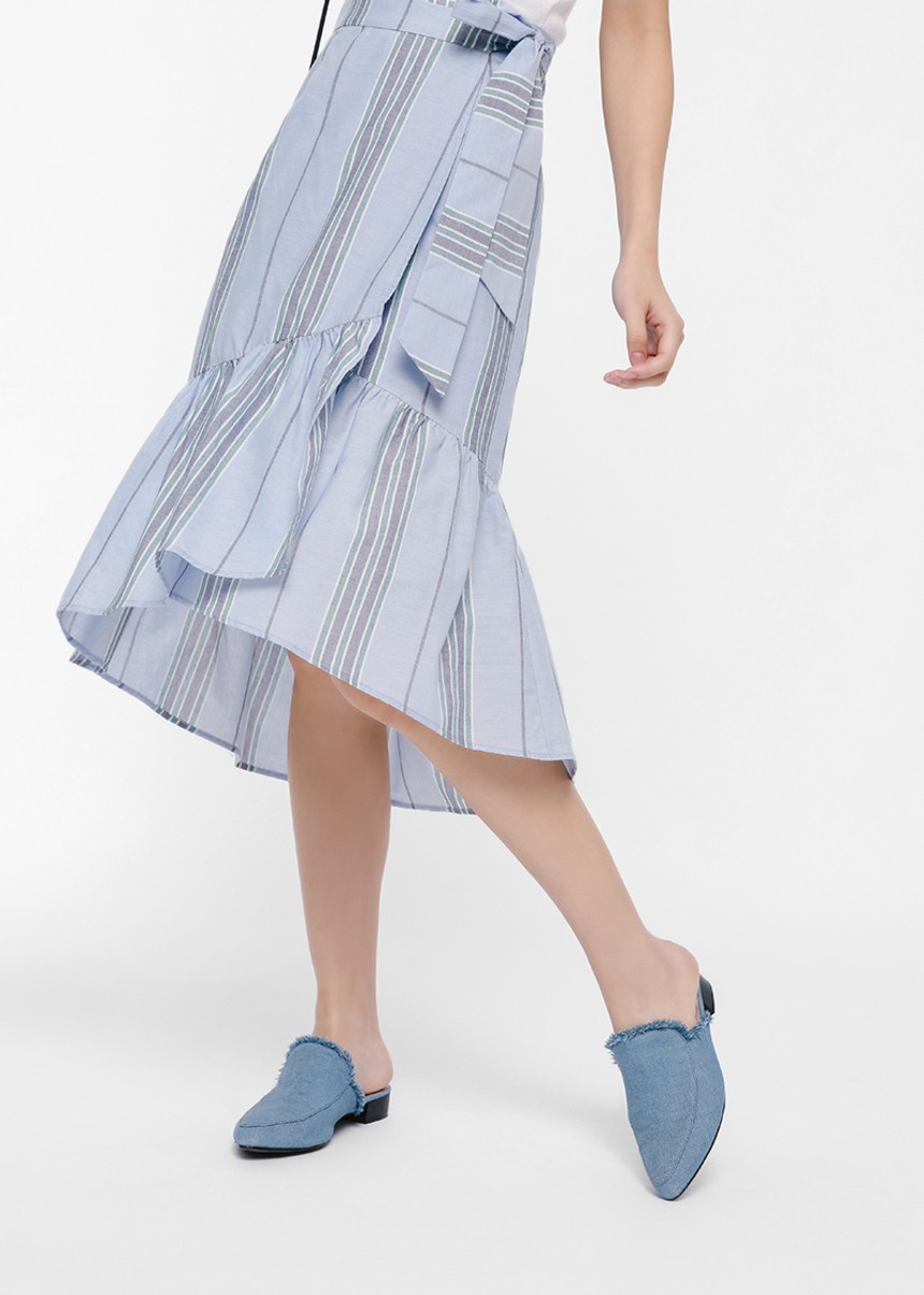 Mitha Striped Ruffle Hem Wrap Skirt