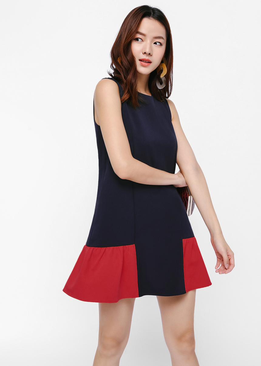 Cordine Colourblock Ruffle Hem Dress
