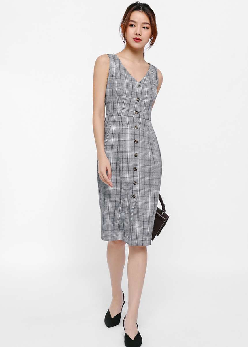 Frothko Tweed Button Up Pencil Dress