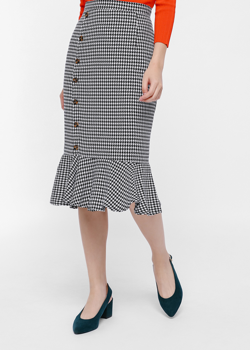 Penelope Houndstooth Ruffle Hem Pencil Skirt