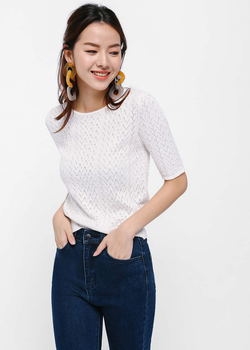 Freyen Pointelle Knit Sweater