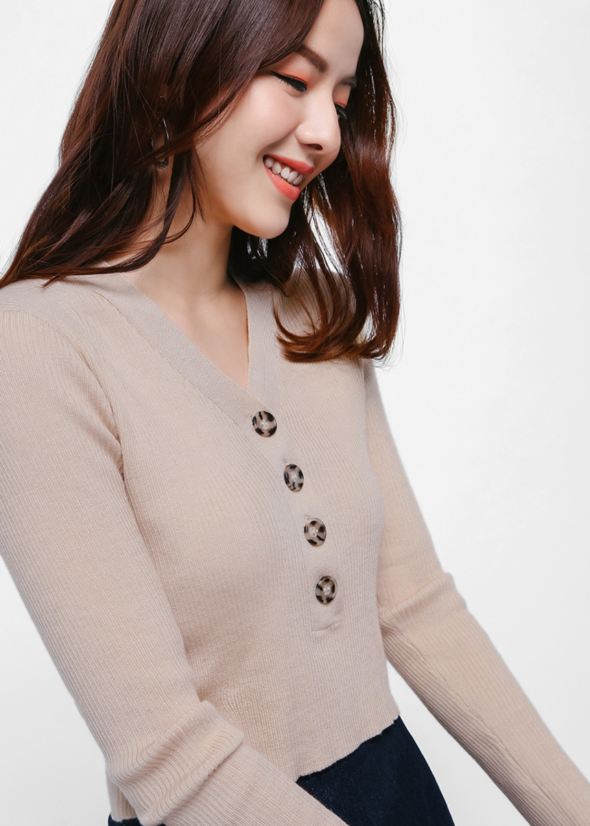 Sedyn Button Front Crop Sweater