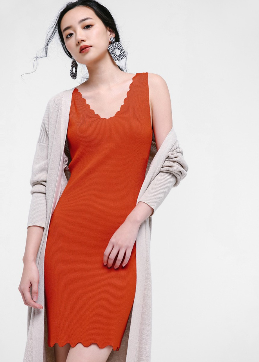 Mabel Scallop Hem Knit Dress
