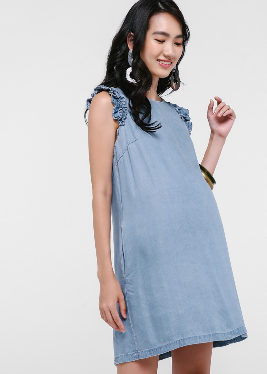 Felix Ruffle Sleeve Denim Dress