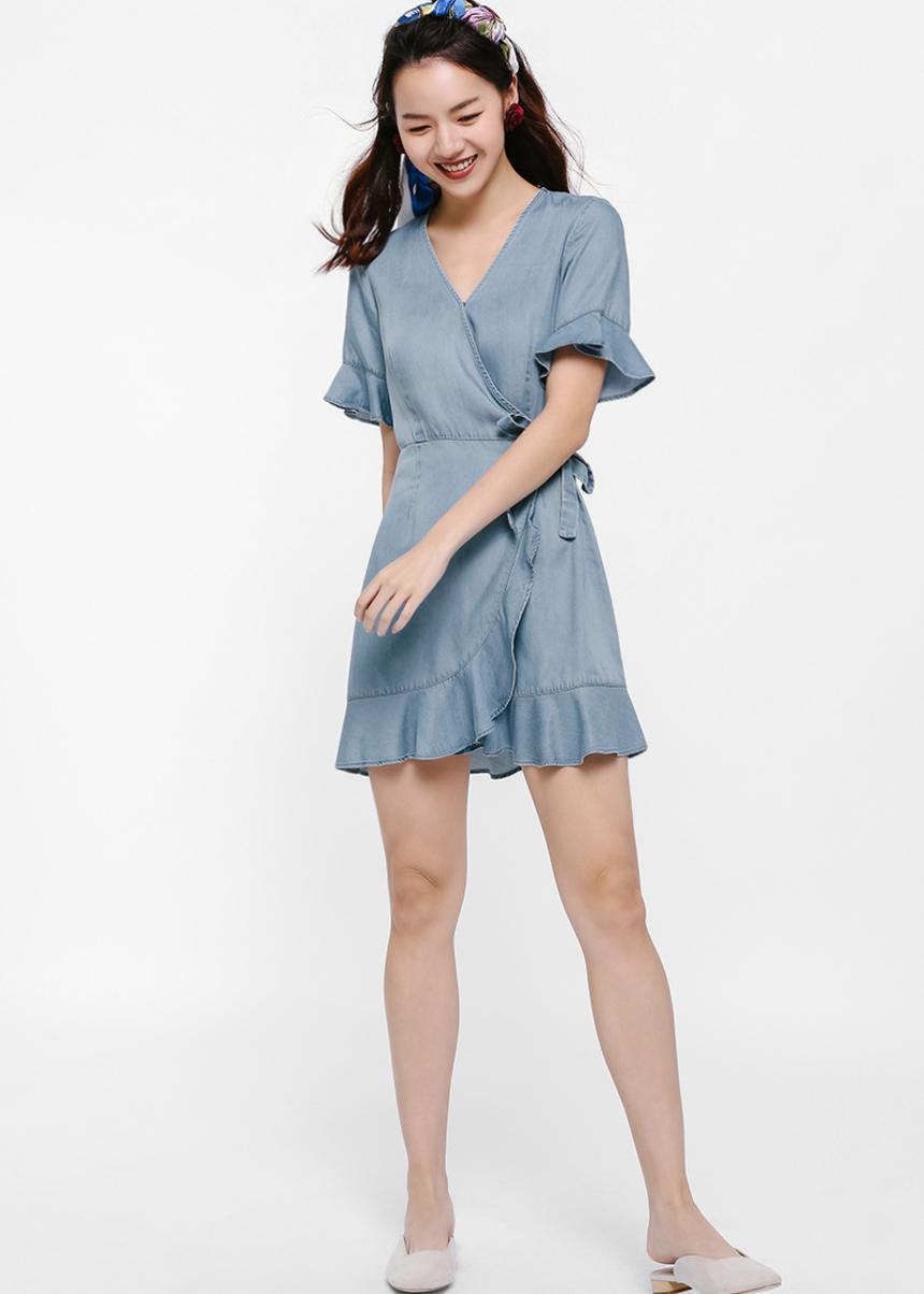 Gillian Denim Wrap Dress
