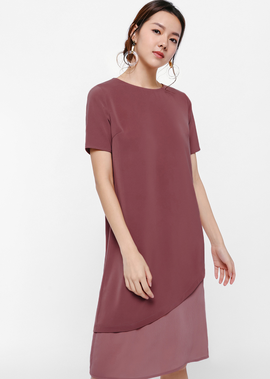 Eurisa Layered Asymmetrical Hem Dress