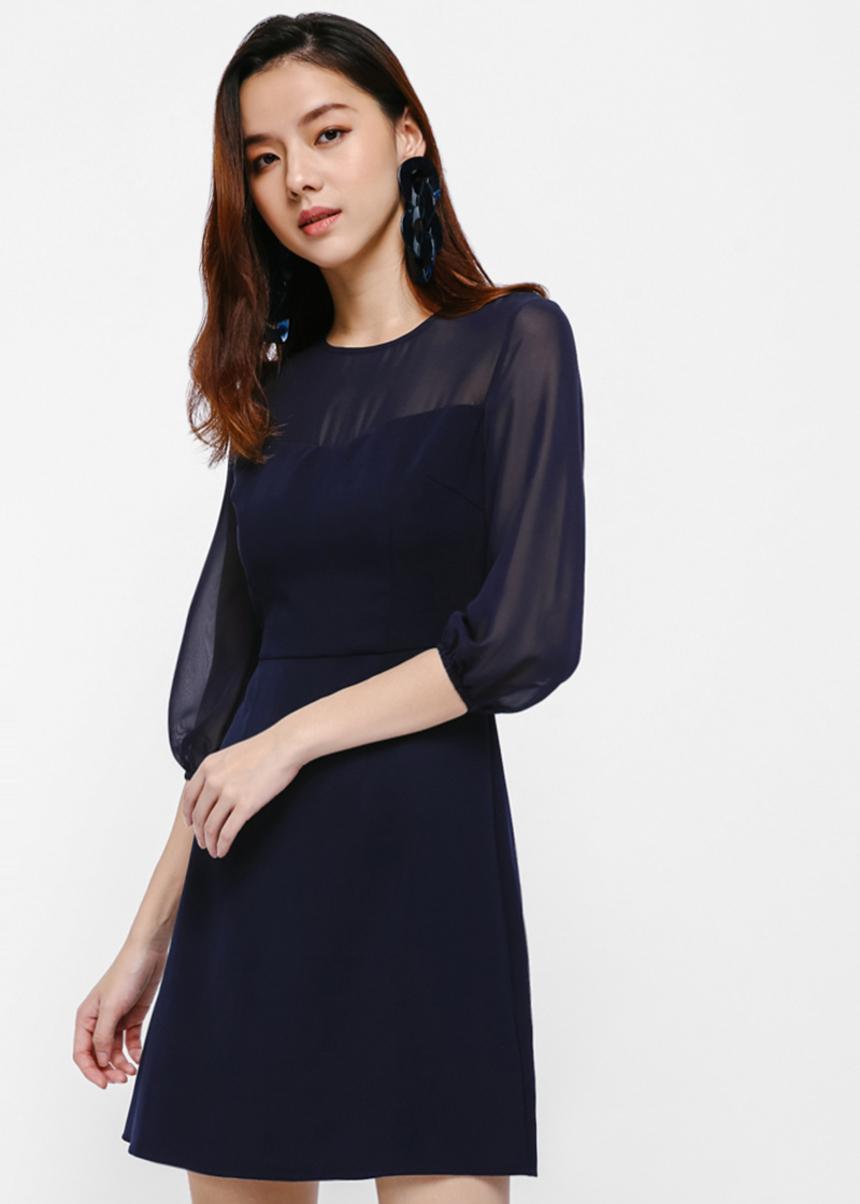 Aileen Puff Sleeve A-Line Dress