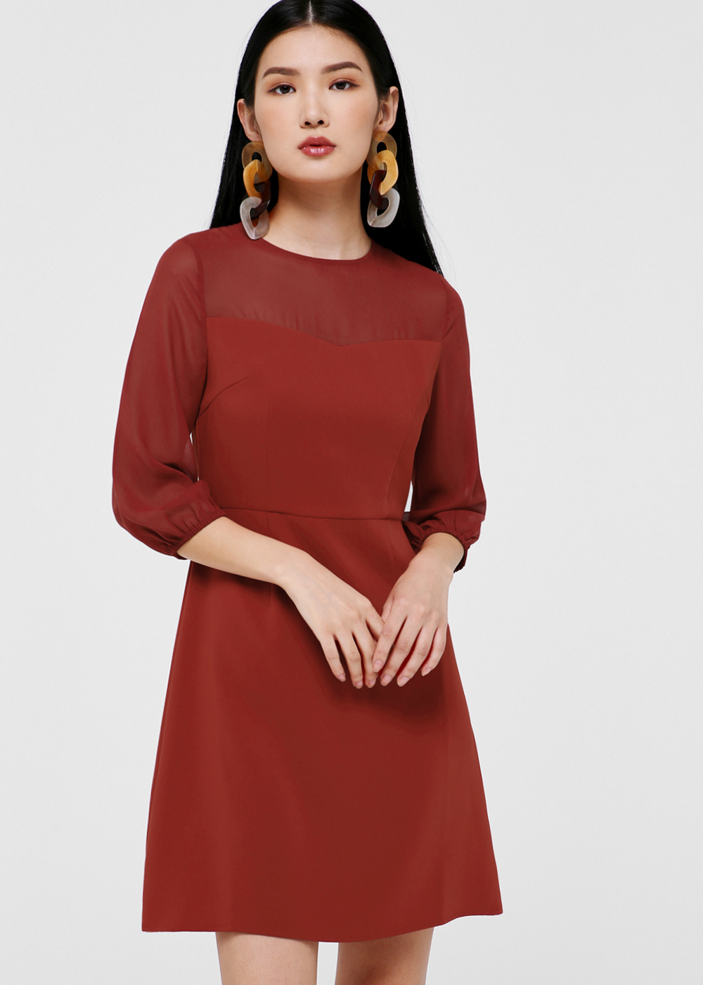 Aileen Puff Sleeve A-Line Dress