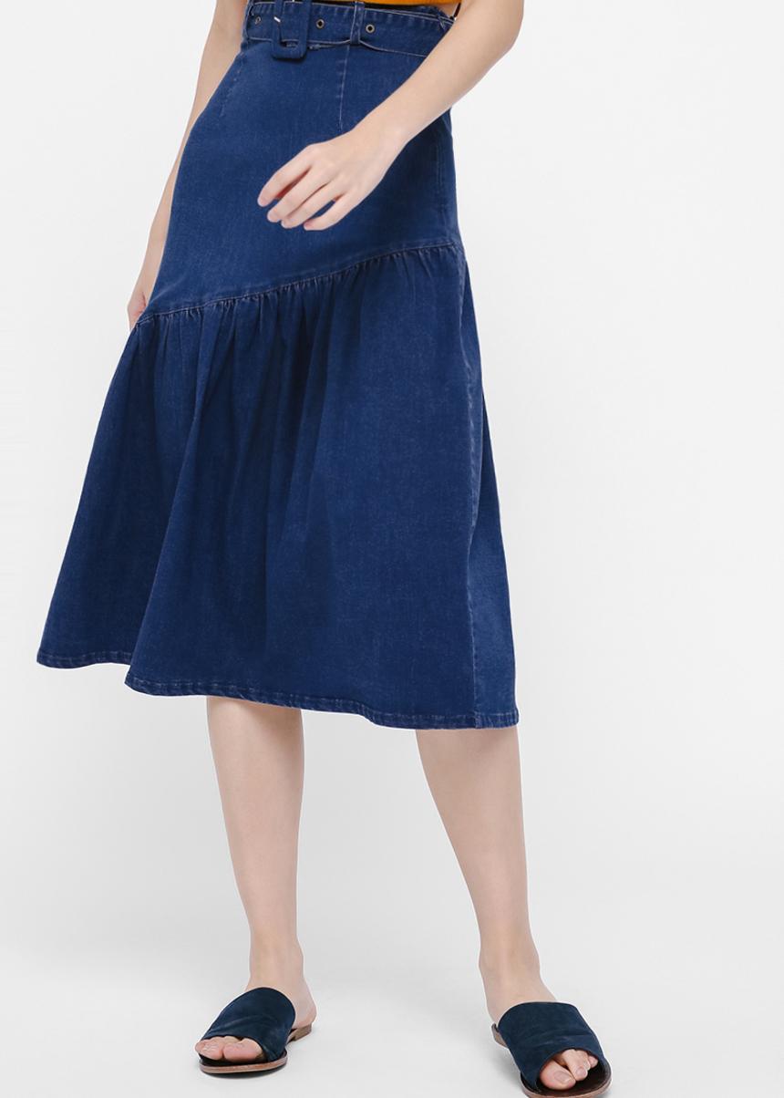 Samantha Belted Flare Hem Midi Skirt