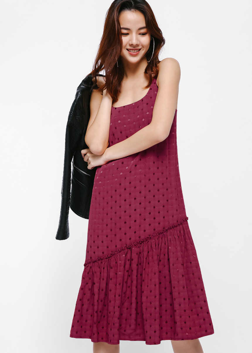 Ziane Textured Trapeze Camisole Dress