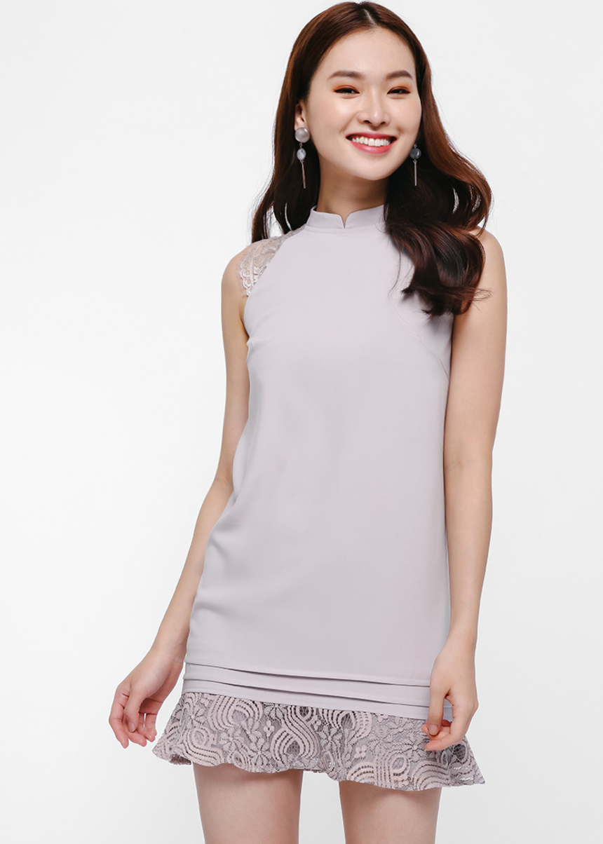 Ortha Mandarin Collar Shift Dress
