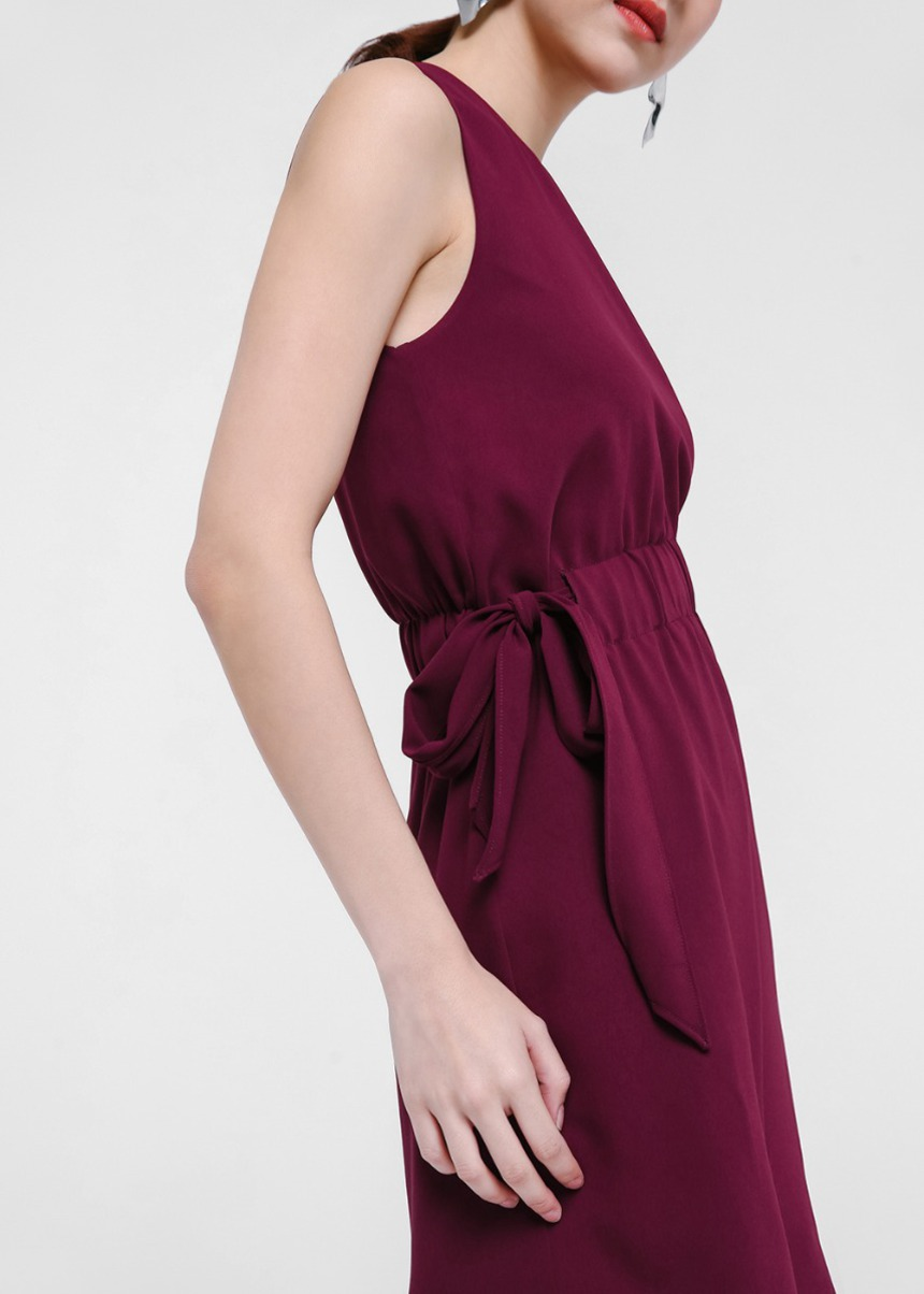 Pandira Asymmetrical Ribbon Tie Dress