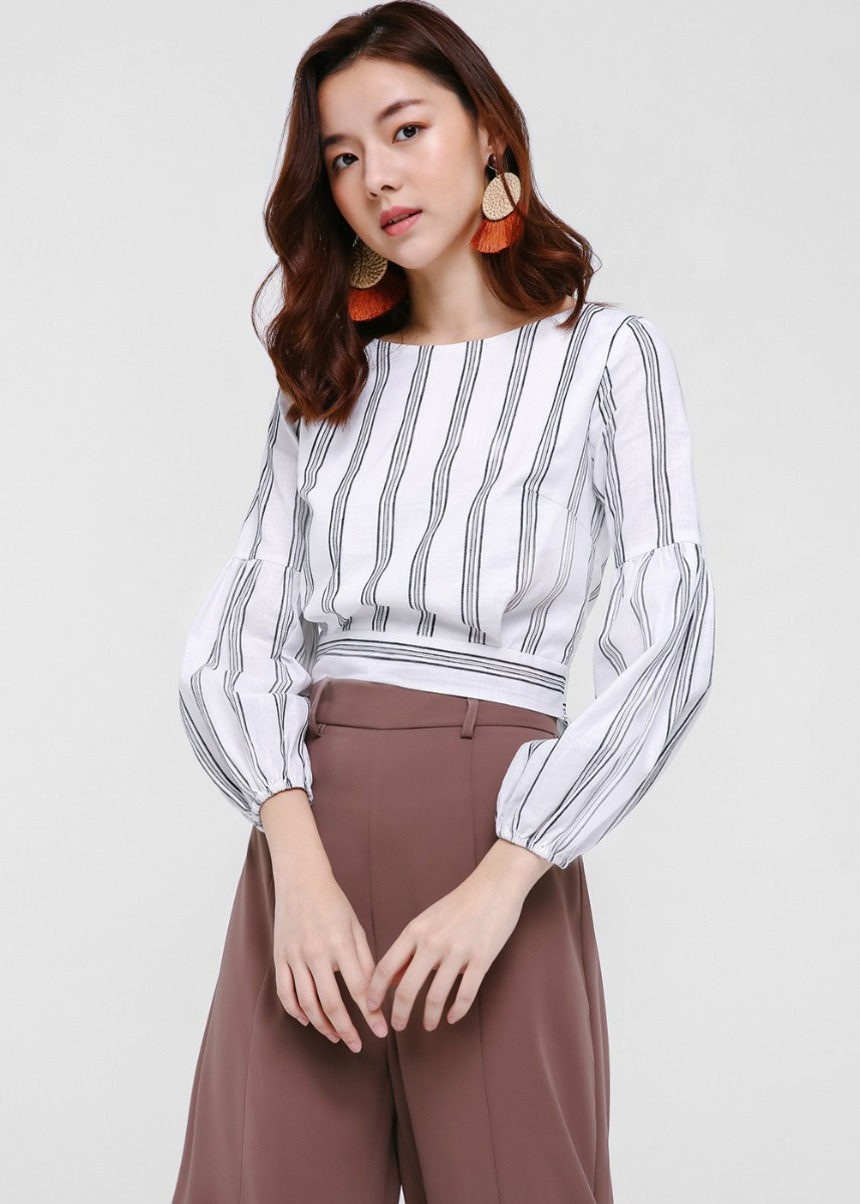 Renata Balloon Sleeve Tie Back Top