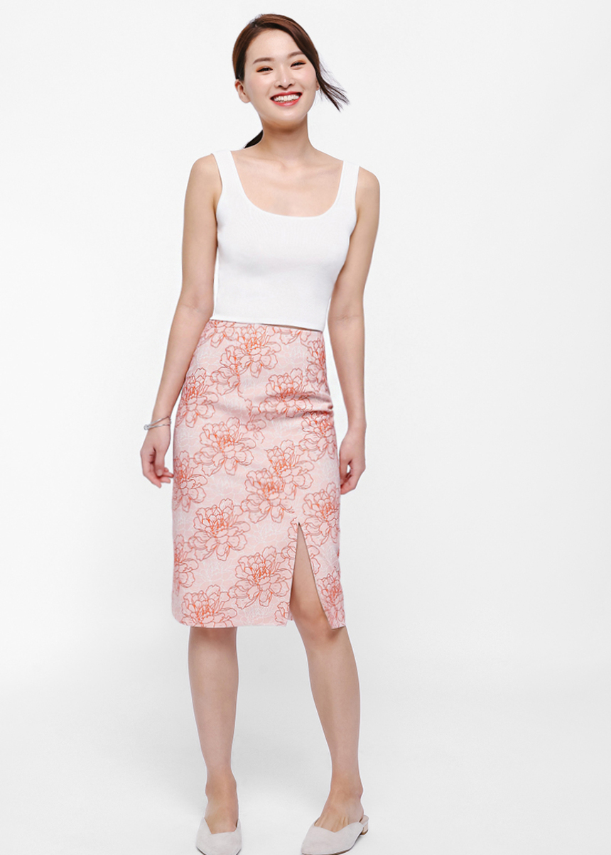 Lucia Printed Pencil Skirt