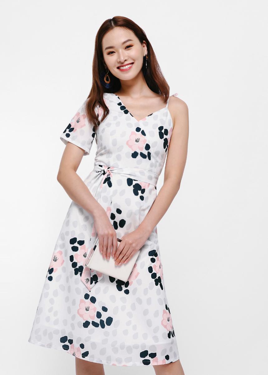 Alexa Printed Asymmetrical Sleeve Dress
