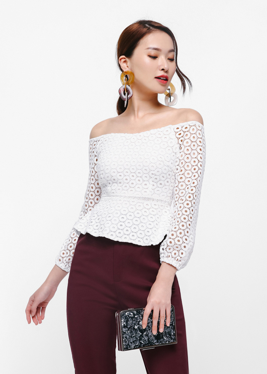 Irrin Off-shoulder Crochet Top