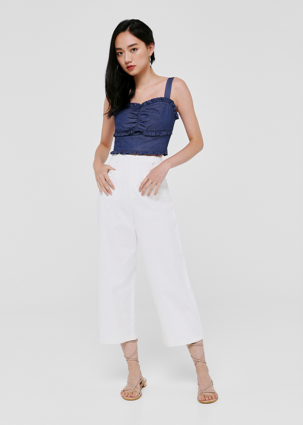 Ayda Denim Lettuce Hem Crop Top