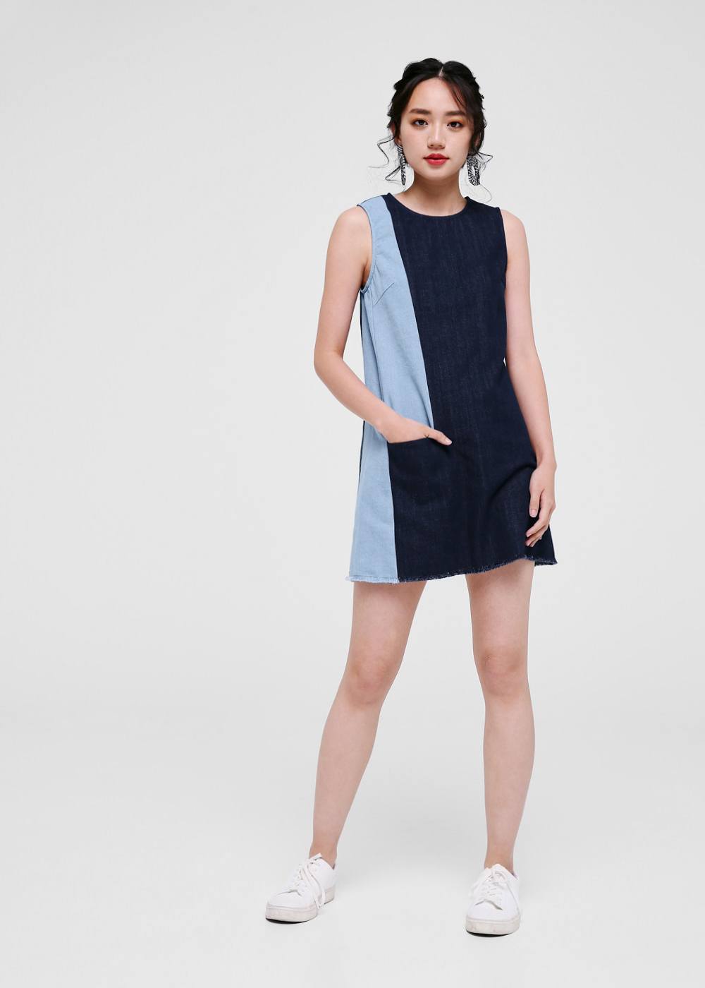 Audrey Denim Panel Shift Dress