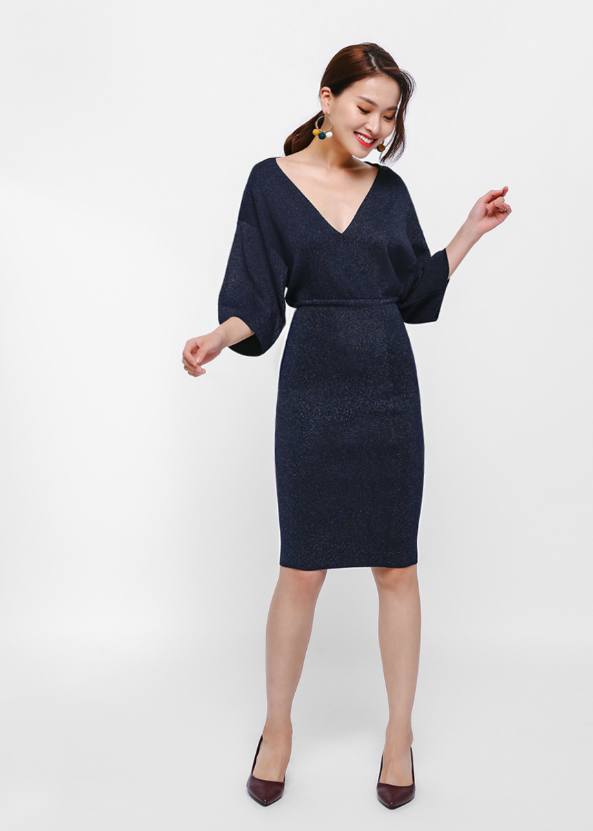 Dione Knit Drop Shoulder Bodycon Dress