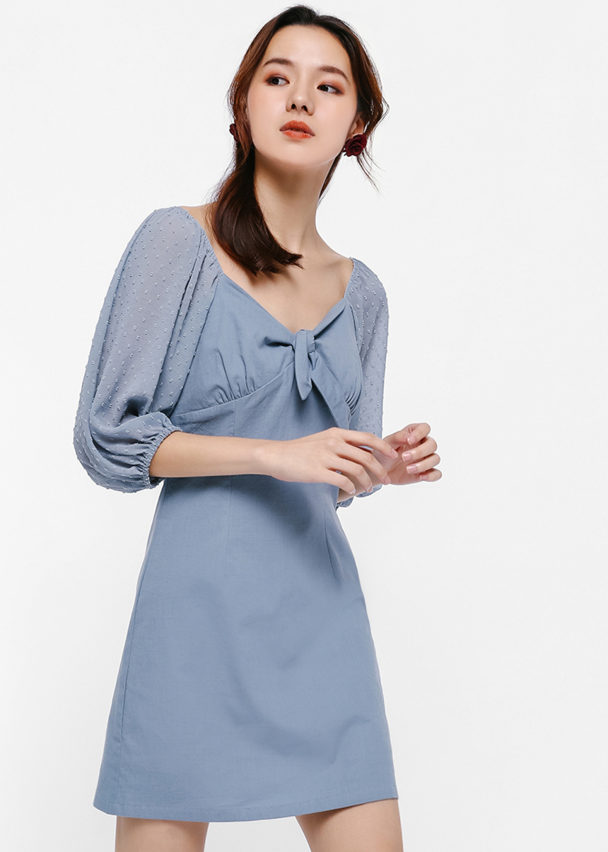 Lixette Tie-Front Balloon Sleeve Dress