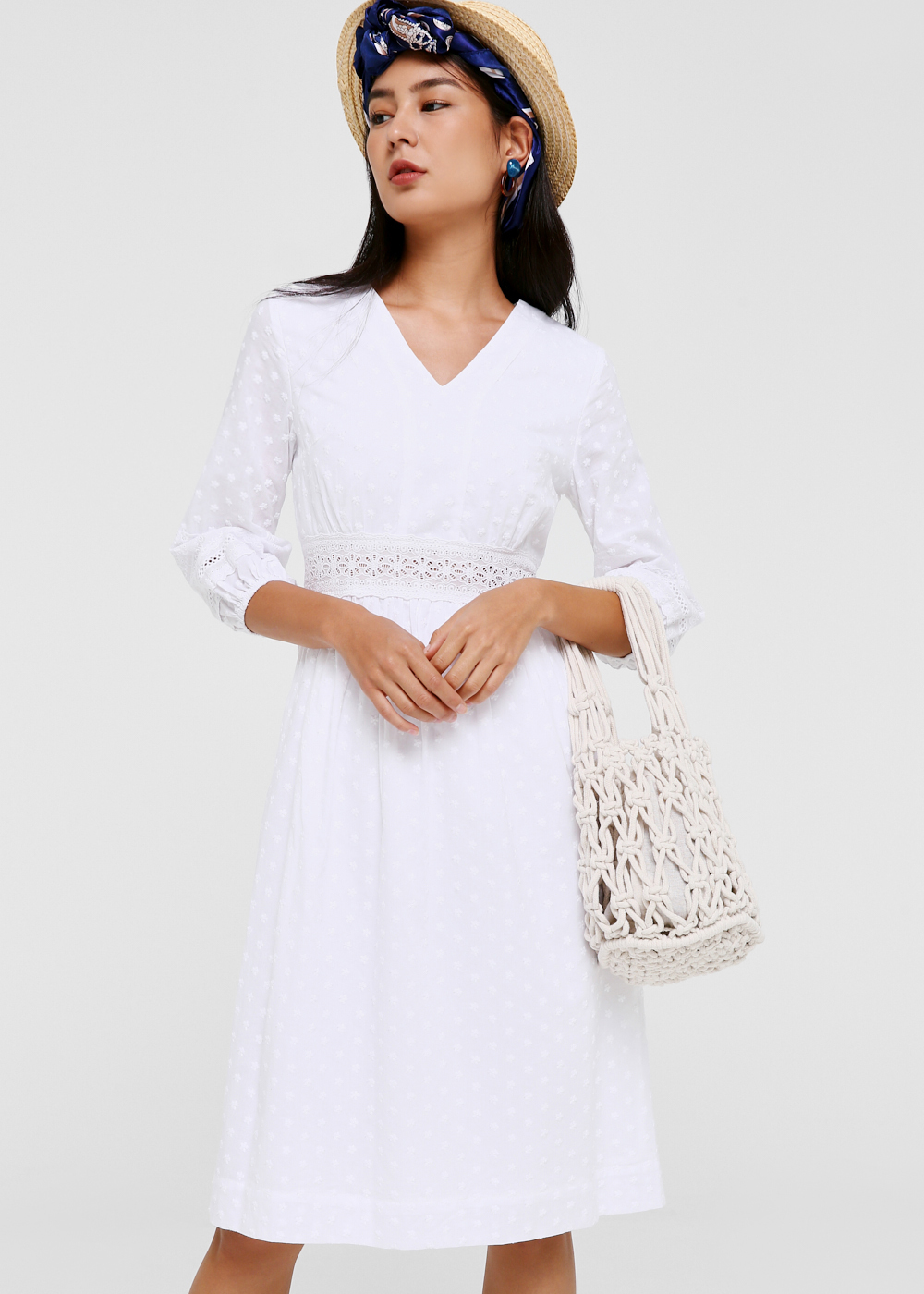 Georgina Broderie Anglaise Midi Dress