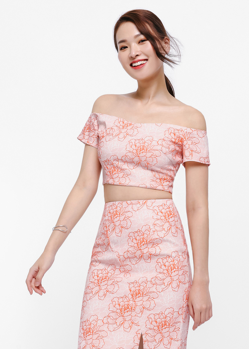 Lucia Printed Off-shoulder Crop Top