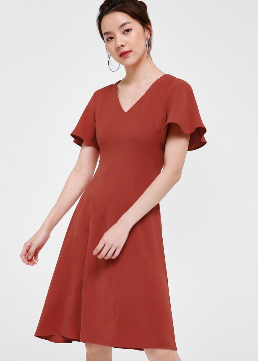 Jayla Flutter Sleeve Midi Dress