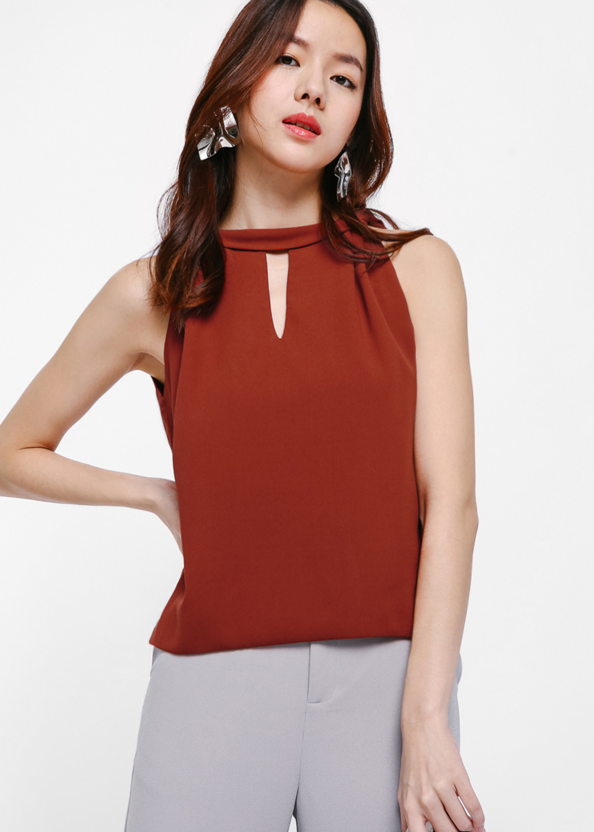 Uma Mock Neck Sleeveless Top