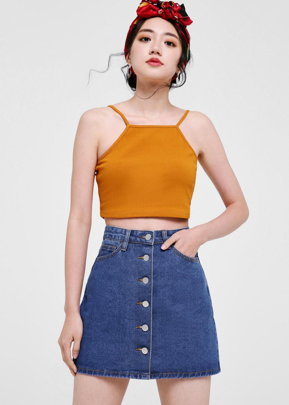 Annalise Denim Button Front Skirt