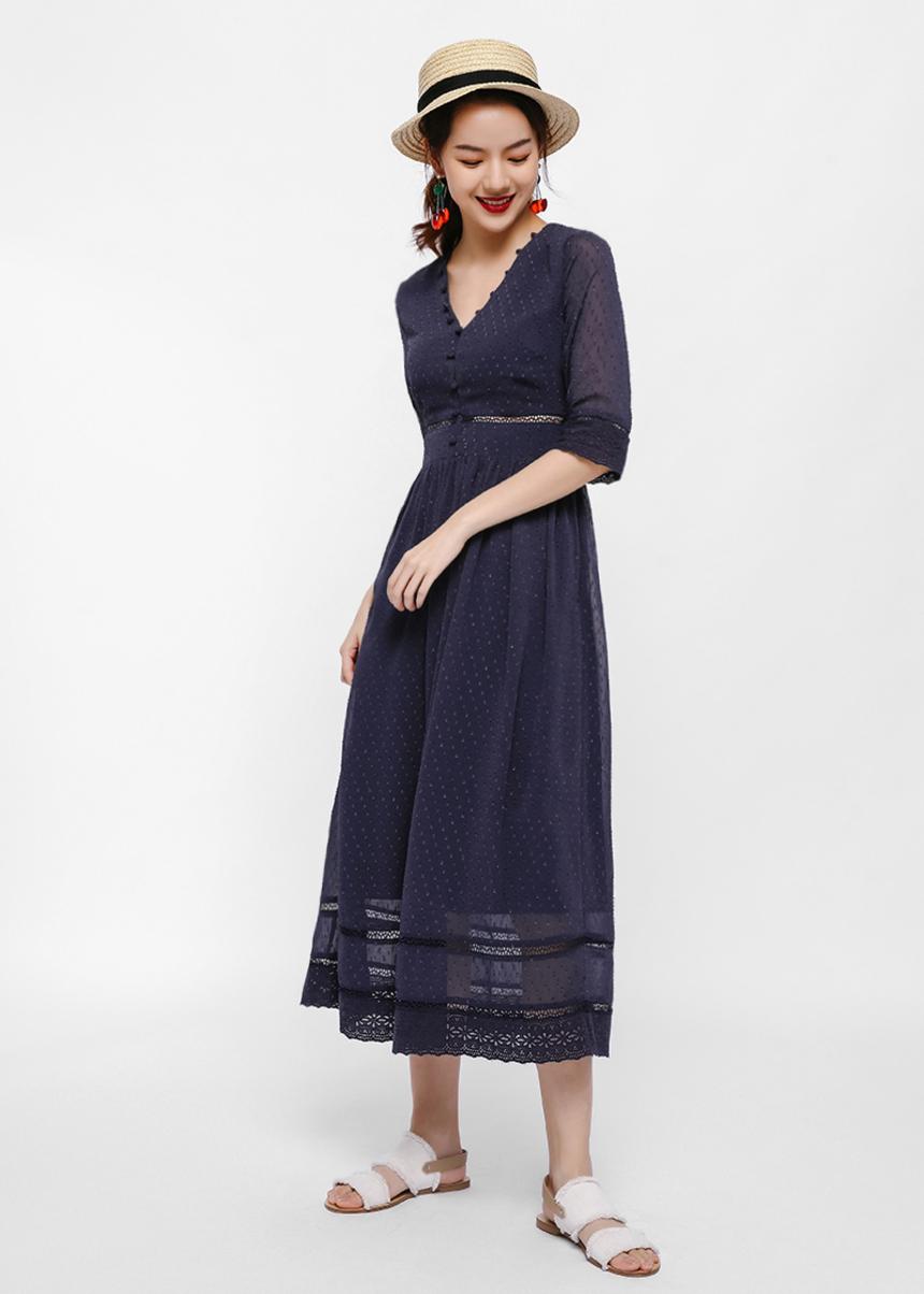 Drisa Dobby Dot Maxi Dress