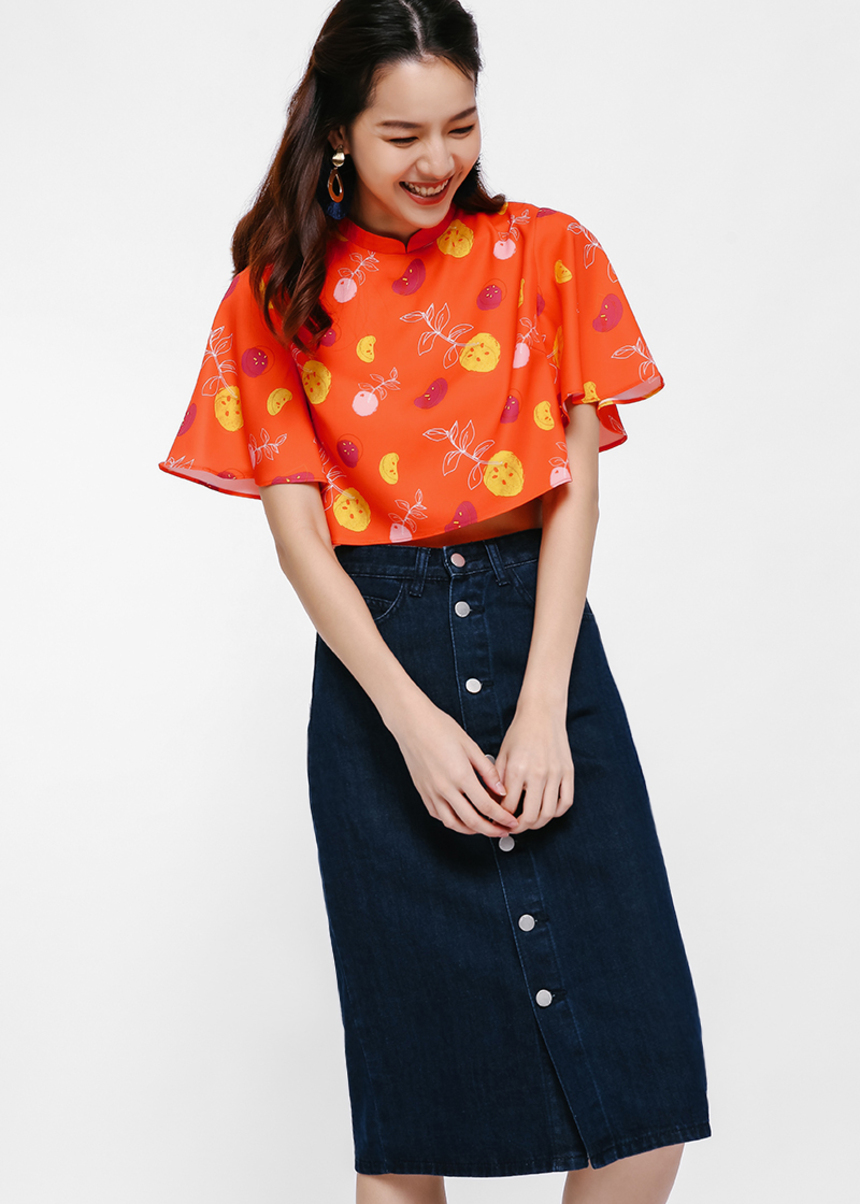 Pomeranc Mandarin Collar Crop Top