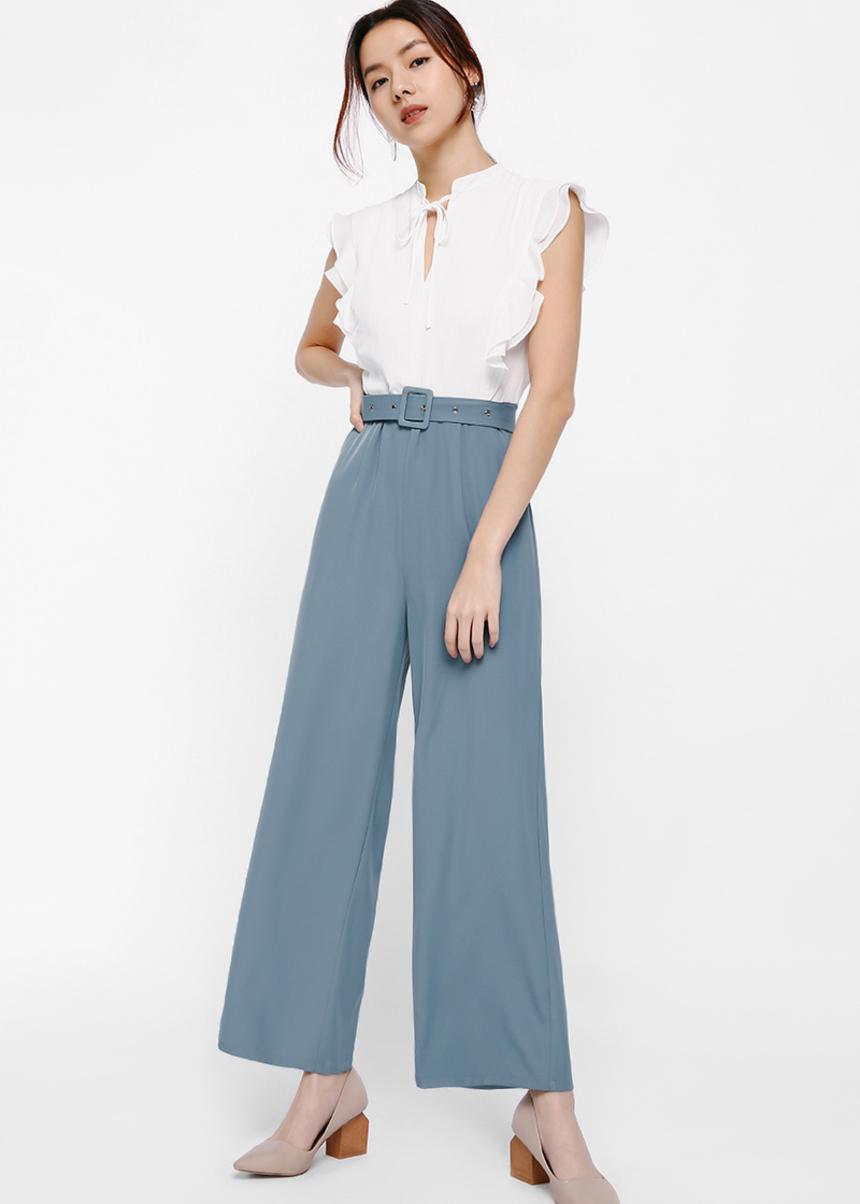 Izetta Ruffle Sleeve Belted Jumpsuit