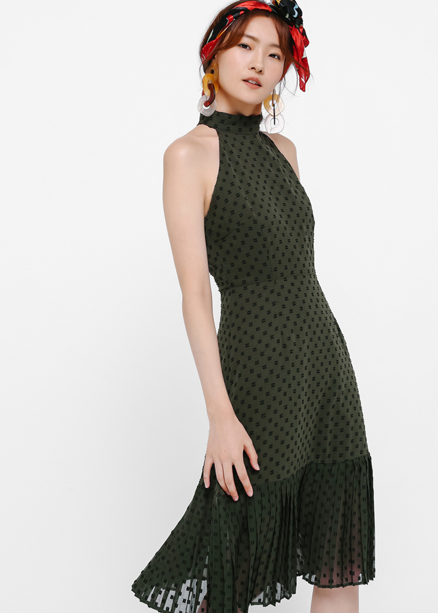 Benita Dobby Dot Midi Dress