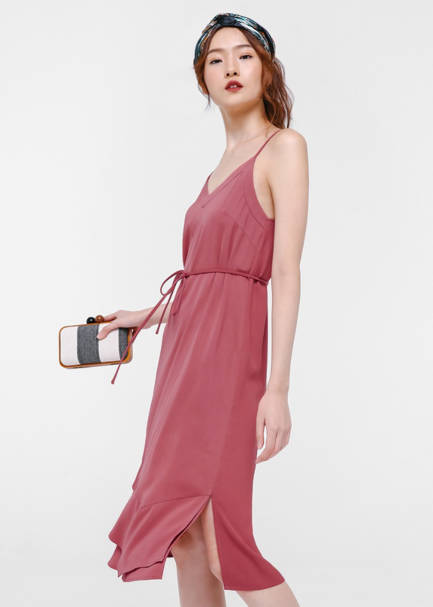 Brigit Layered Hem Midi Dress