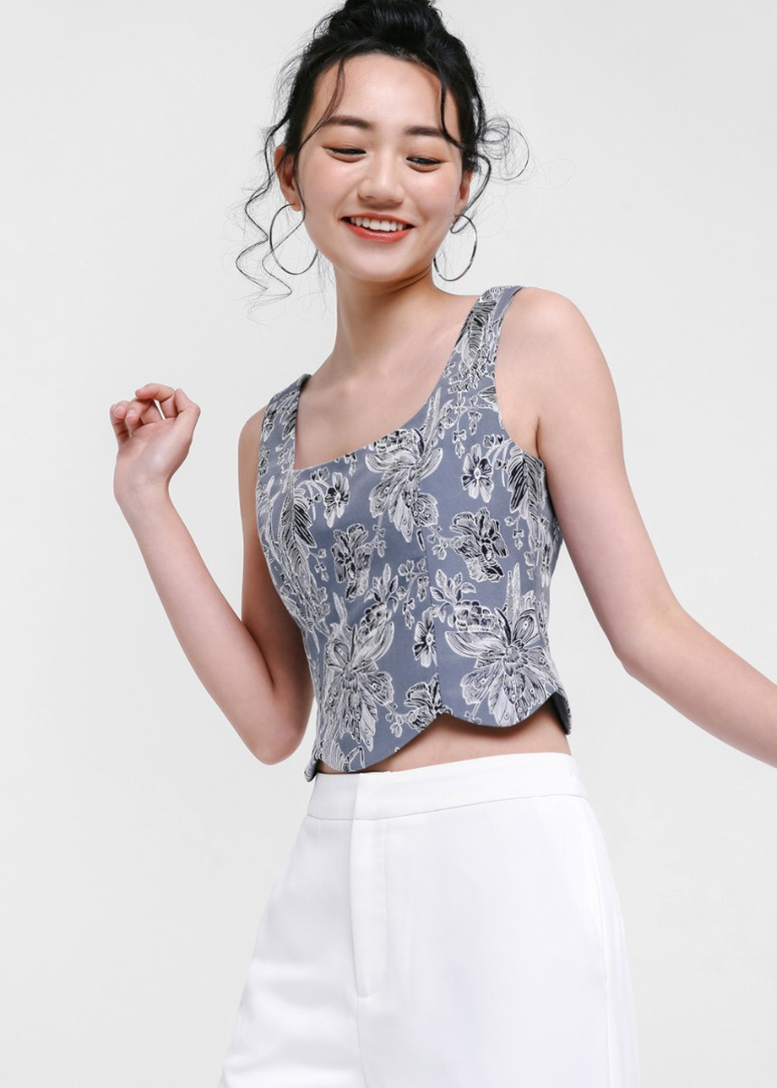 Kellese Jacquard Crop Top