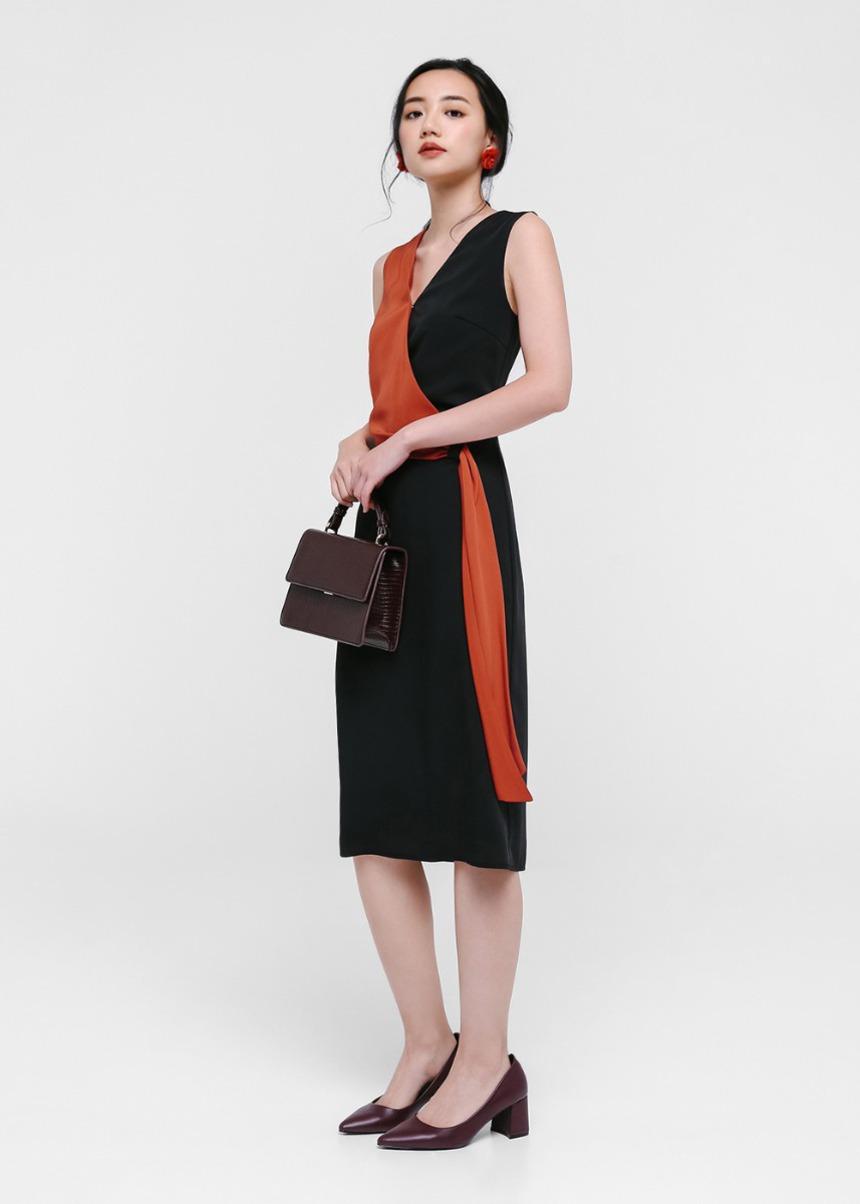 61f0c8263832 Bertha Colourblock Layered Midi Dress