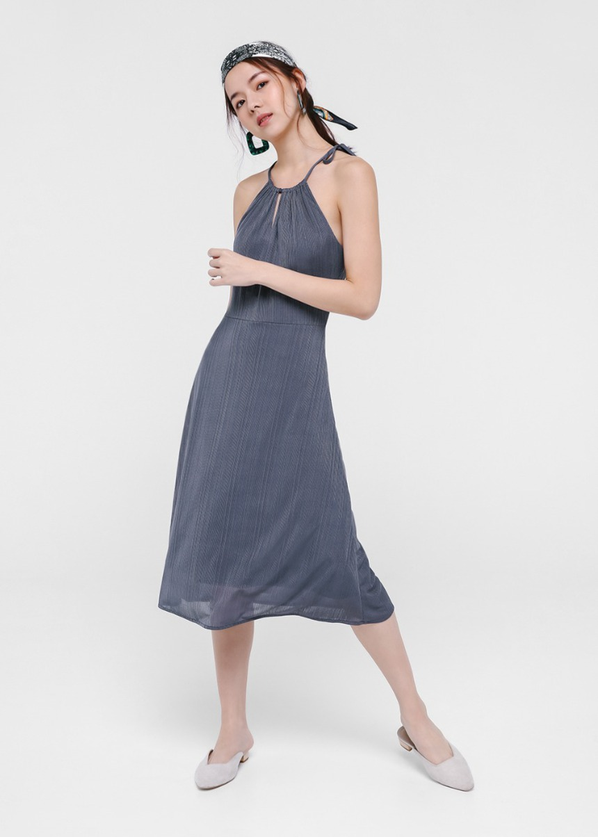 Calliope Textured Halter Midi Dress