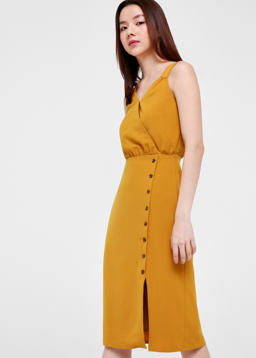 Aerin Button Front Midi Dress