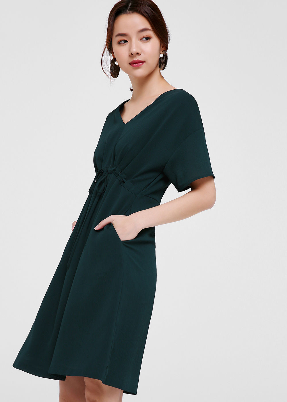 Aubrey Tie-front Gathered Dress