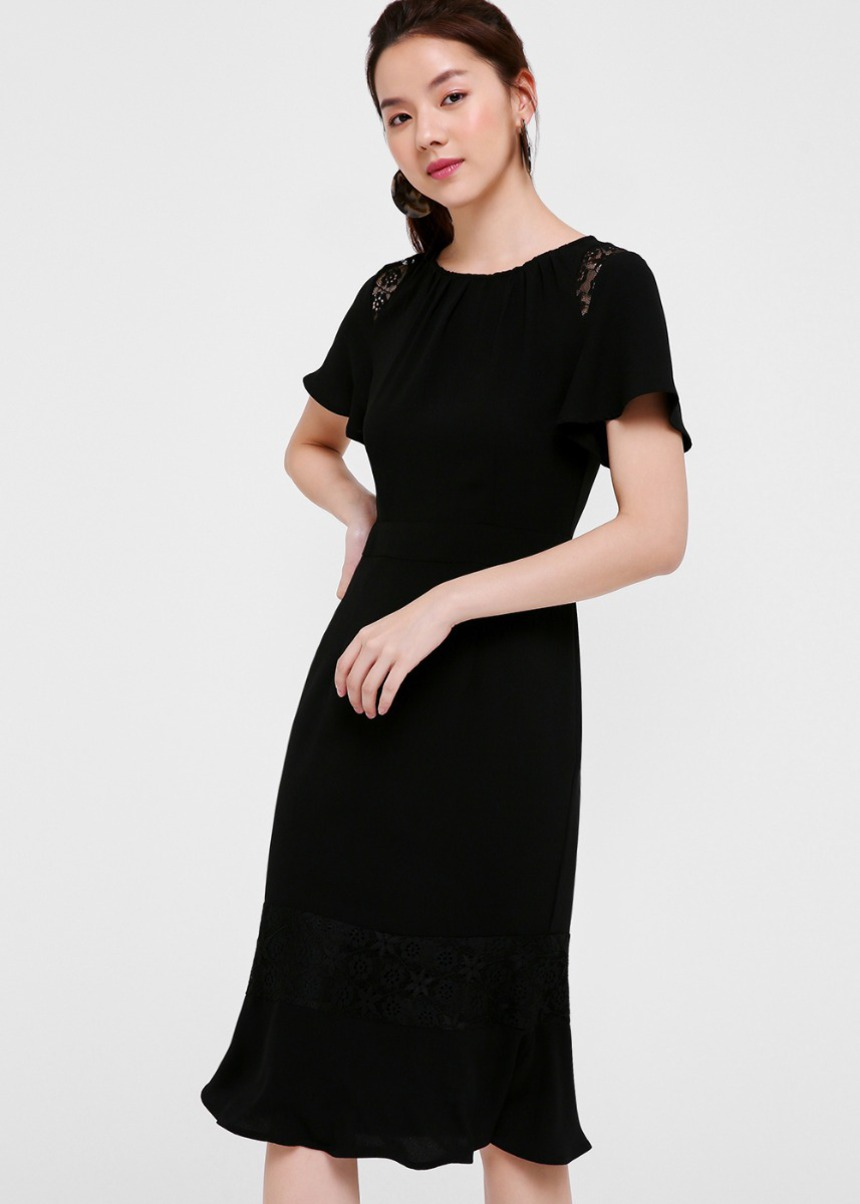 Odina Lace Trim Midi Dress