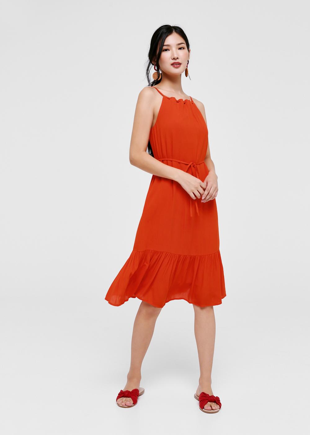 Adalie Textured Halter Neck Dress