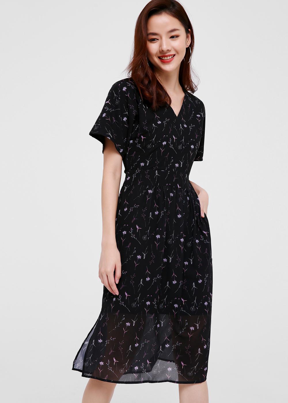 Angeline Printed Flutter Sleeve Dress