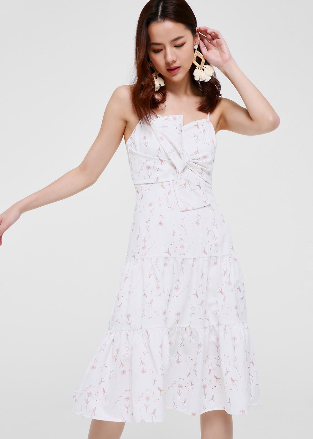 Angeline Printed Tiered Midi Dress
