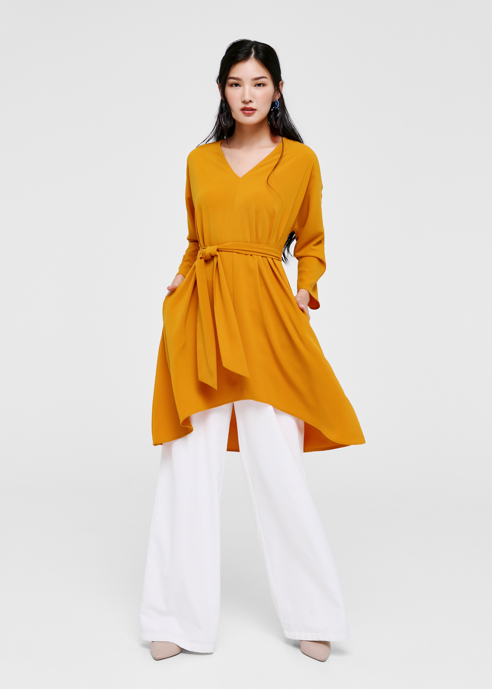 Evonne Asymmetrical Tie Front Midi Dress
