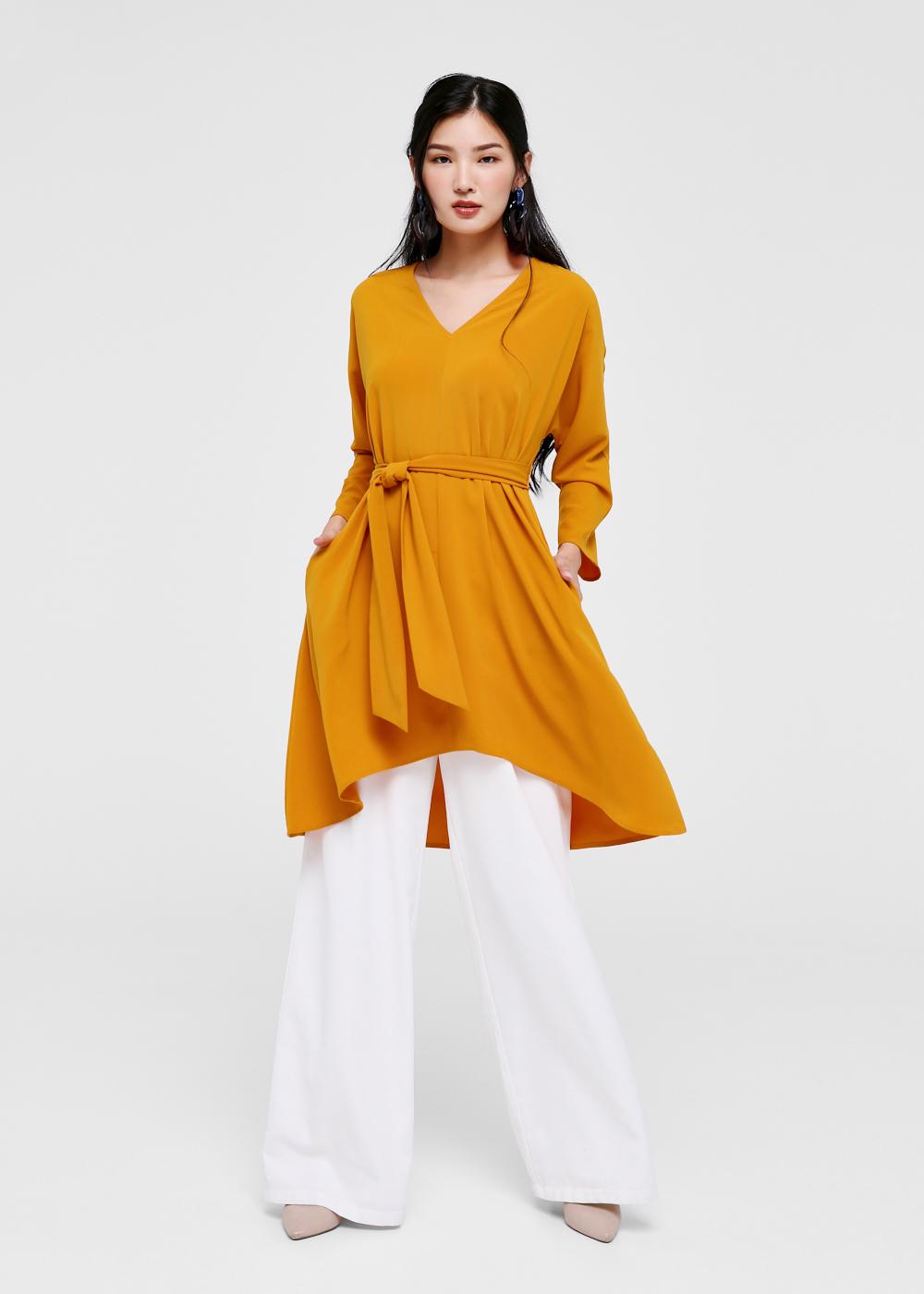 Evonne Asymmetrical Tie Front Midi Dress