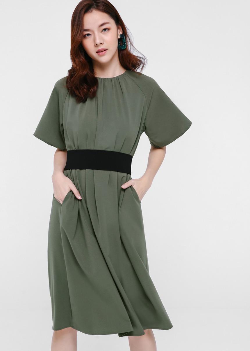 Rayla Flutter Sleeve Midi Dress