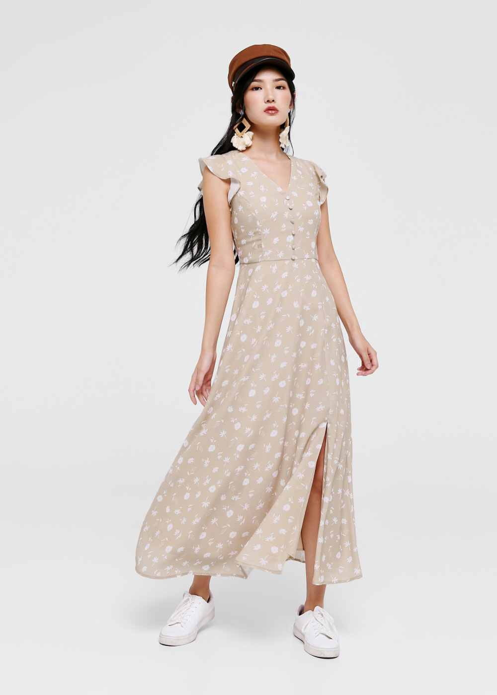 Catherine Printed Ruffle Sleeve Maxi Dress